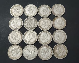 16 monedas plata Alfonso 12/13