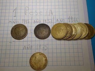 1 peseta de Franco del año( 1947, 1953 ,1966,1975