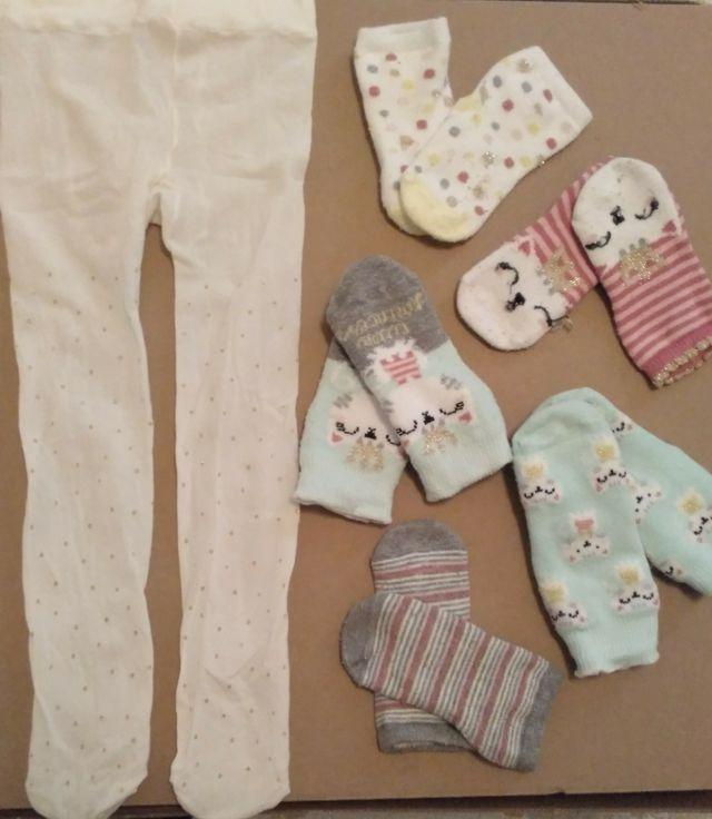 Lote calcetines y medias bebé 74 -80 (12 - 18 m)