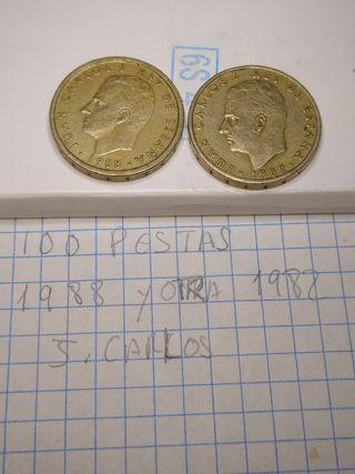 2 monedas de 100 pesetas año 1982 y 1988