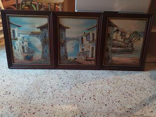 trío de cuadros marco de madera con firma