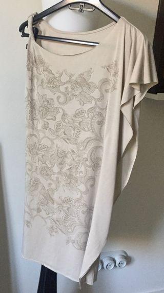 mini robe- tunique beige impression tattoo T.34-36