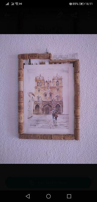 Cuadro decoración con marco en corcho