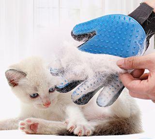 Guante cepillo silicona masajeador peine quita