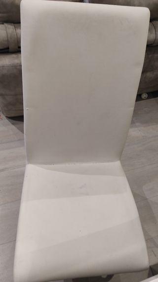 Sillas modernas de comedor en polipiel blanca