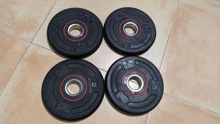 4 Discos pesas caucho 1,25 kg