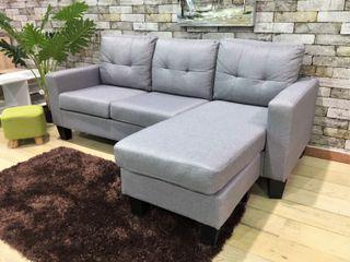 Sofá chaise-longue gris tela