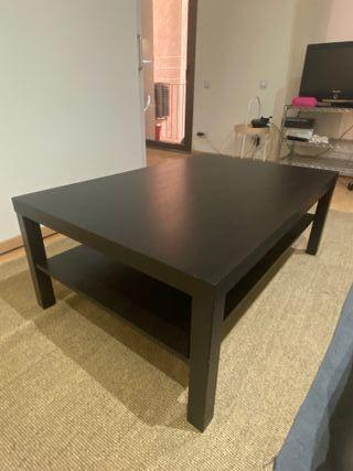 Mesa de centro, negro-marrón, 118x78 cm
