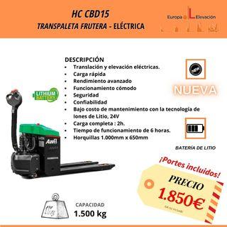 transpaleta eléctrica 1.500kg hc NUEVA