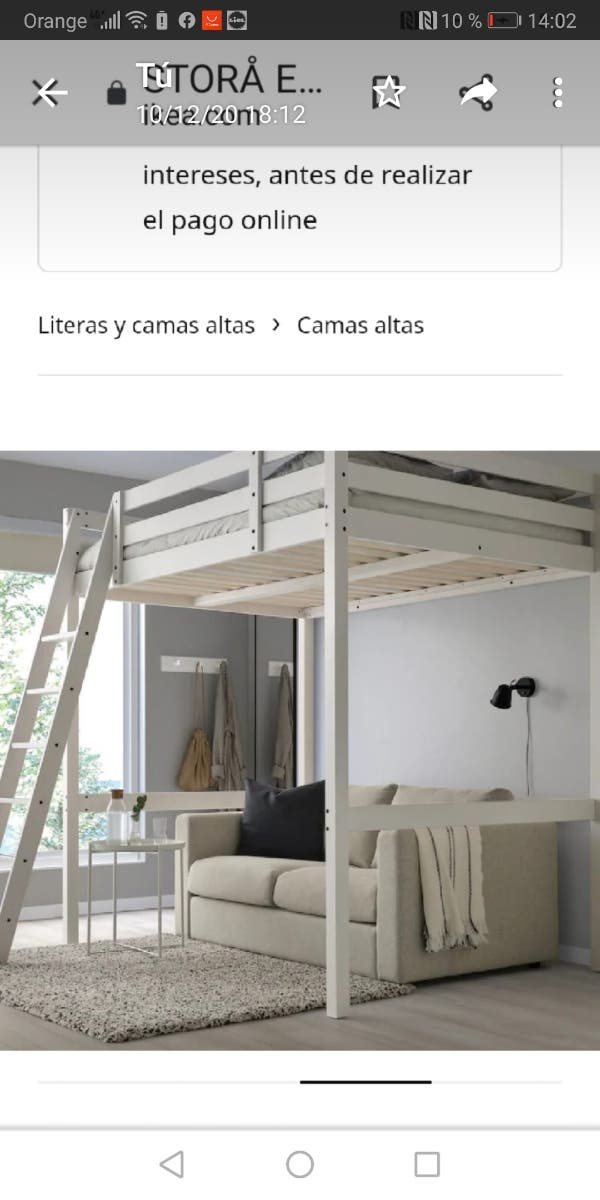 cama alta de ikea en color pino