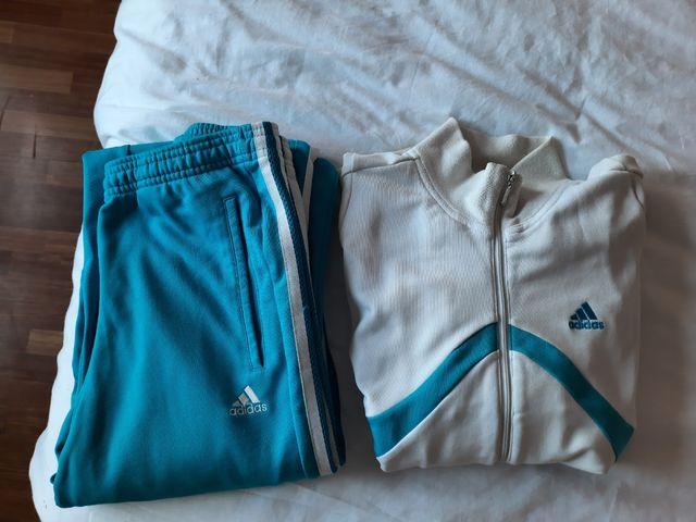 chándal chica Adidas talla S azul y blanco