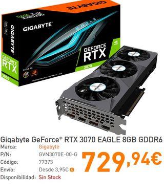 Gigabyte RTX 3070 EAGLE 8GB DDR6 + 3 AÑOS GARANTÍA