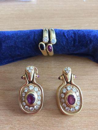 Pendientes Vintage oro 18k brillantes y rubíes.