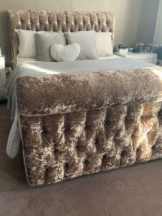 Crushed velvet king sized bed