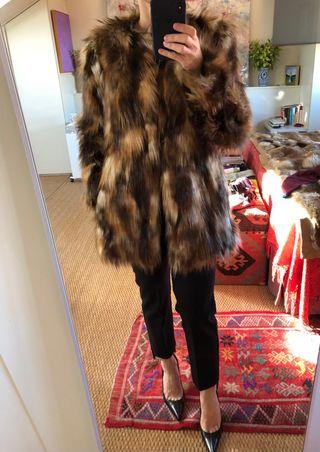 Abrigo de pelo de zorro piel sintética talla S