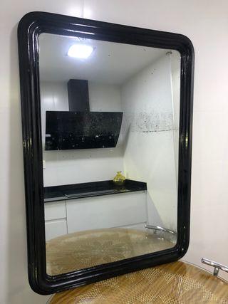 Antiguo espejo roble negro grande