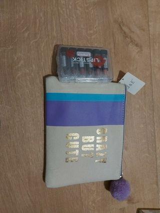 lote caja 6 pintalabios nuevos + neceser nuevo