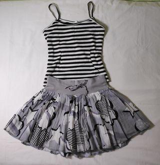 Conjunto S-M falda H&M y camiseta a rayas