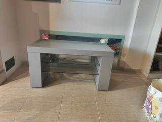 Mueble mesita TV de cristal con ruedas