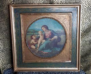Cuadro Antiguo Virgen Con Niño y San Juanito