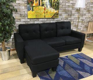 Sofá chaise-longue negro tela