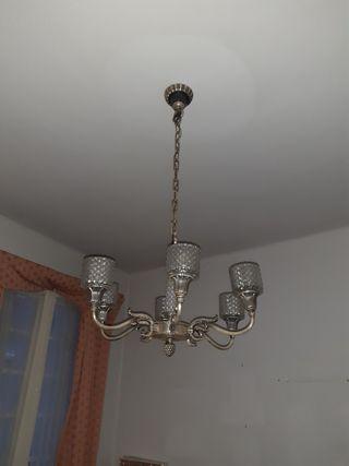 lampara techo con 5 brazos plata