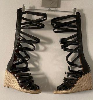 Zapatos sandalias plataformas estilo gladiador