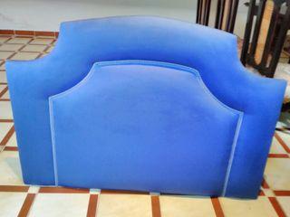 Cabecero tapizado azul loneta