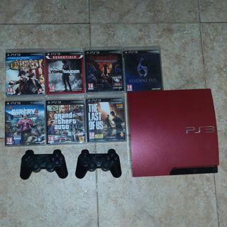 PS3 Slim Roja 320GB + 2 Mandos + 7 Juegos
