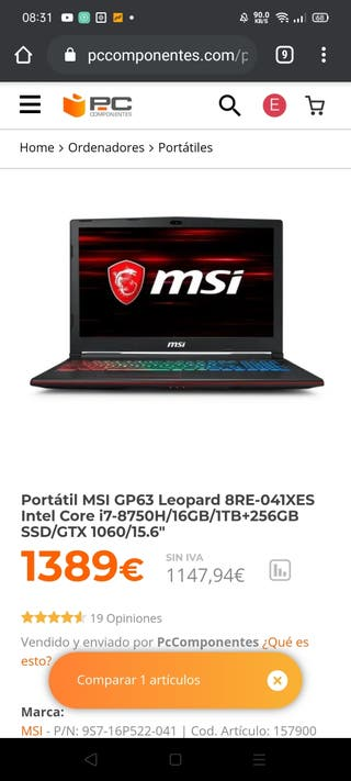 Ordenador portátil gaming MSI gp63 leopard 8re