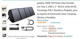 powkey 100W 18V Panel Solar Portátil, con Tipo C