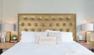 Cabecero cama tapizado botones cristal