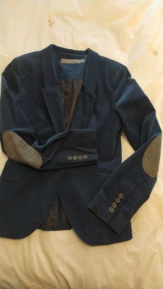 Blazer Zara Azul con coderas grises T. 38