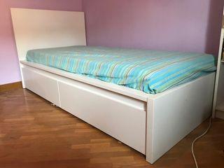 Cama ikea Malm 90x200 con colchón
