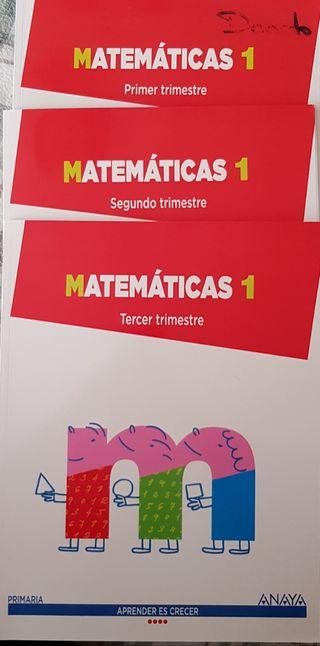 Libros Matemáticas 1 primaria Anaya 1,2y3 Trimestr