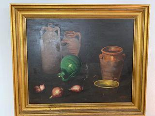 Cuadro, bodegón con marco de 1955
