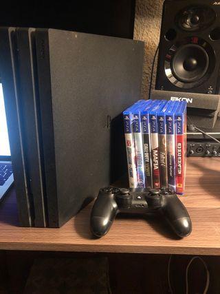 Ps4 pro 1tb + 7 juegos + 1 mando + disco duro 500g