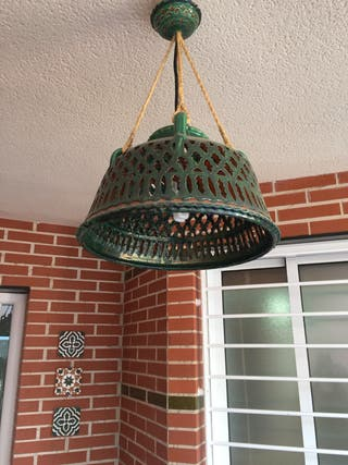 Lámpara techo exterior cerámica verde