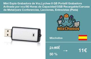 Mini Espía Grabadora de Voz,Lychee 8 GB Portatil