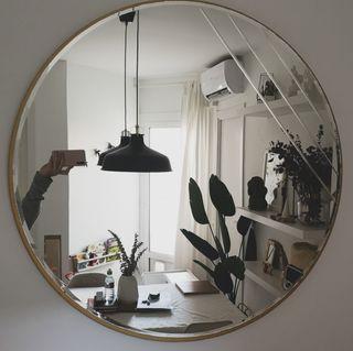 espejo grande dorado redondo