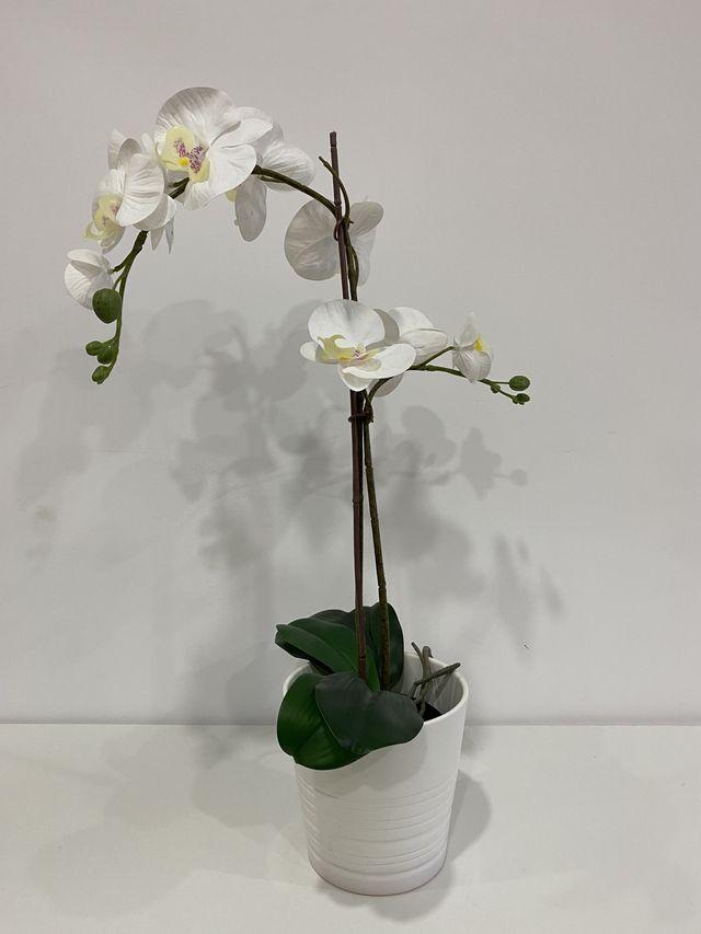 Planta Artificial Orquídea Blanco 12 cm