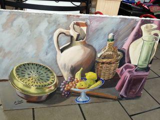 Bodegón al óleo sobre lienzo. Firmado : A. Goñi