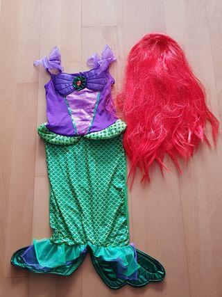Disfraz de Sirenita Ariel 6-7 años con peluca
