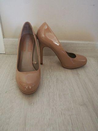 zapatos tacón fiesta nude