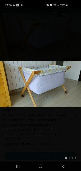 Moisés + colchón + nórdico + sábanas