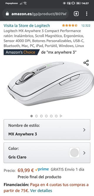 Logitech MX Anywhere 3 Compact Performance ratón