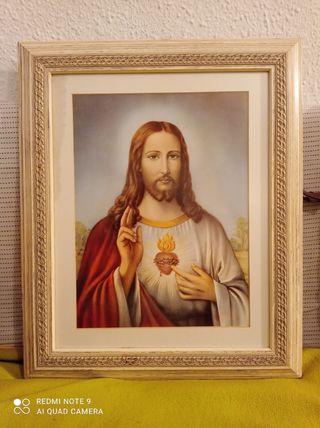 Cuadro Santo Con Marco Pintura Jesús Maria Antiguo