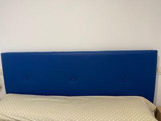Cabecero polipiel color azul 160x55. Sin estrenar
