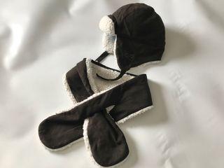 Conjunto de gorro de aviador y bufanda de bore