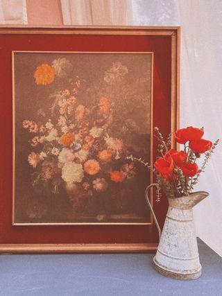 Gran Cuadro Antiguo Floral